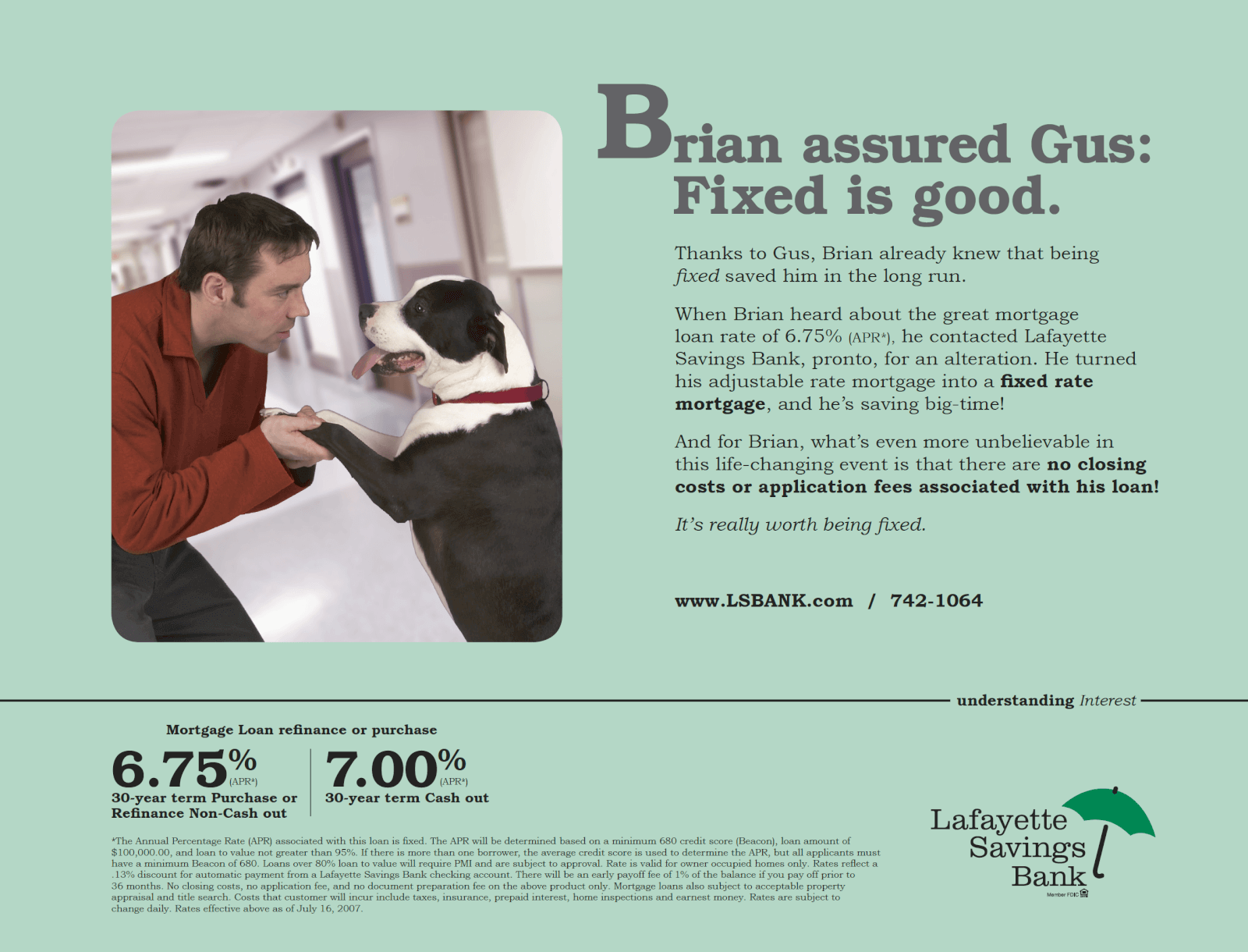"""Fixed"" Lafayette Savings Bank newspaper ad"